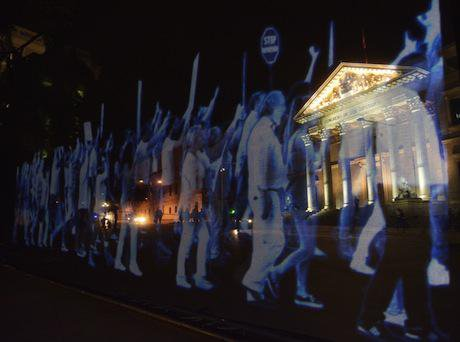 A 'hologram protest' outside the Spanish Parliament. Demotix/ Marcos del Mazo. All rights reserved.