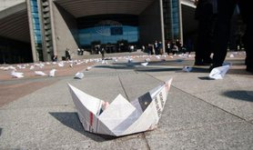 Paper boat protests against Mediterranean migrant deaths, Brussels, April 20.