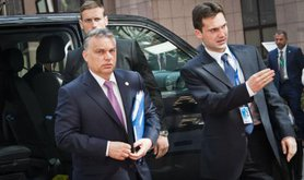 Viktor Orban arriving at EU Summit on migration, April, 2015.