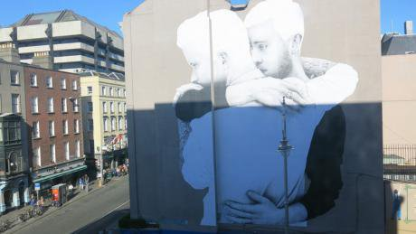 Large mural appears in Dublin city centre.