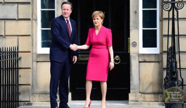 David Cameron meets Nicola Sturgeon for post-election talks May, 2015.