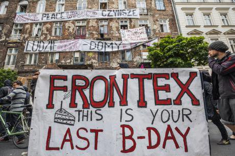 Demonstration in Warsaw against Frontex, May 2015 (Celestino Arce/Demotix)