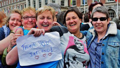 Dubliners celebrating Ireland's marriage equality referendum.