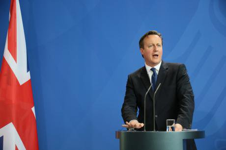 Cameron addressing media in Berlin in May, 2015.