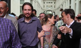 Pablo Iglesias with new mayor of Madrid,Ahora Madrid candidate Manuela Carmen.
