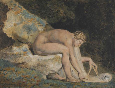 'Newton' seated nude with a compass, deep in thought