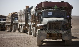 Supply trucks in Afghanistan
