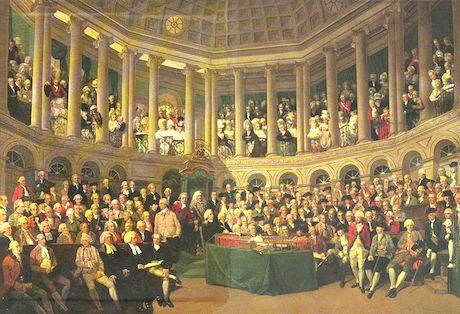 The Irish House of Commons, 1780 by Francis Wheatley. Wikimedia Commons/Public Domain.