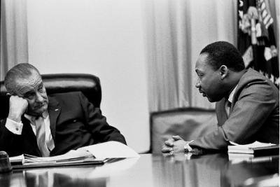 President Lyndon B. Johnson meets with Martin Luther King, Jr. in the White House Cabinet Room, 18 March 1966