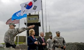 Hillary Clinton looks out over North Korea, 2010. Wikimedia Commons/Public Domain.