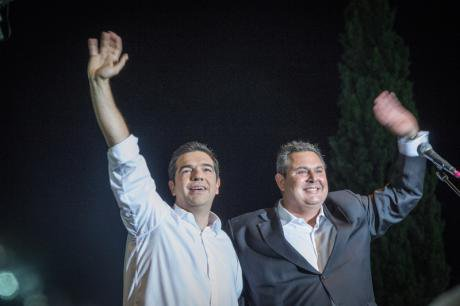 Alexis Tsipras with Minister of National Defense,Panos Kammenos, July 2015.