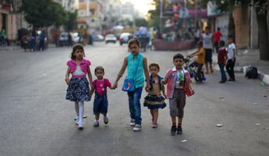 Palestinians in Gaza celebrate Eid al-Fitr at the end of Ramadan.