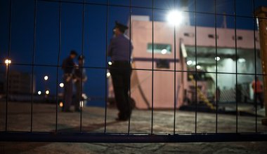 Border police on the Italian island of Lampedusa, a primary European entry point for African migrants. Demotix/Michele Lapini. All rights reserved.