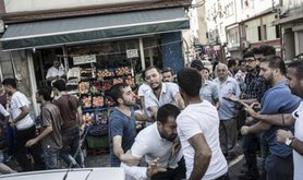 Police detain protesters at Turkey's decision to end PKK peace process, July 26, 2015,Istanbul.