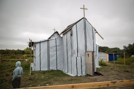Migrant constructed Christian church in the Calais 'jungle'.