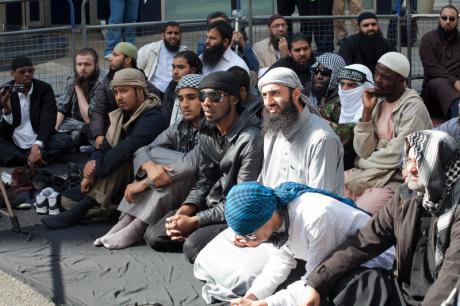 Muslims rally against France's ban on public prayer in front of French Embassy, London. 23 September, 2011.