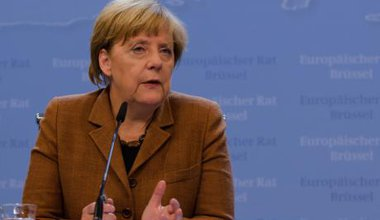 German Chancellor Angela Merkel after EU migration meeting.