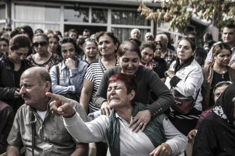 Blast victims' funeral in Ankara, October 11.