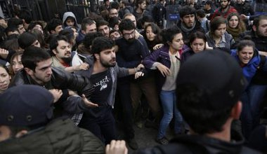 Student protest against YOK dispersed by Istanbul riot police outside University of Istanbul using tear gas and rubber bullets.