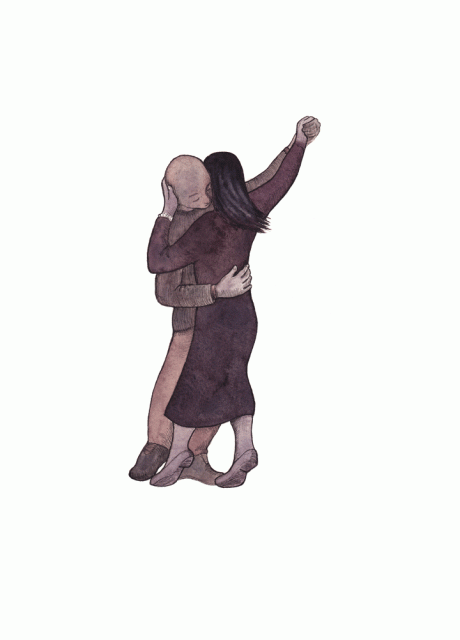 Illustration of man and woman dancing.