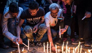 Candle vigil in southern Beirut to mourn 44 victims of suicide bomb, November, 2015.