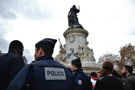 Police at Le Place de Republique. Demotix/Mark Winter. All rights reserved.