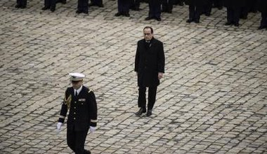 President Francois Hollande attends Memorial Service for victims.