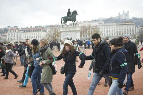Forbidden demonstration for opening of COP21 in Lyon.