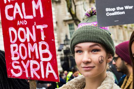 Keep Calm and Don't bomb Syria. London protest, November 28, 2015.