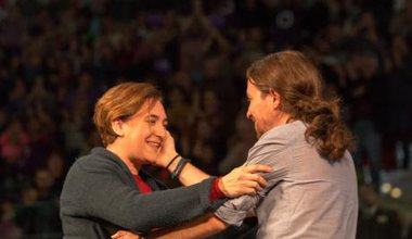 Ada Colau and Pablo Iglesias in Madrid Caja Magica, December 13, 2015.