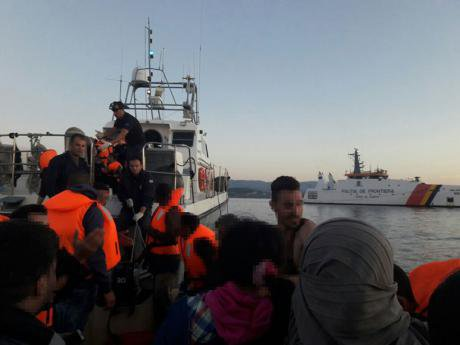 Photograph taken by illegalized migrants during their push-back by the Greek Coast Guard to Turkey, documented by the WatchTheMe