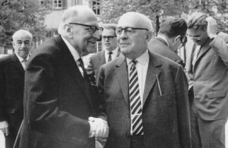 Max Weber-Soziologentag, April 1964, Heidelberg. Horkheimer front left, Adorno front right, Habermas back, right.