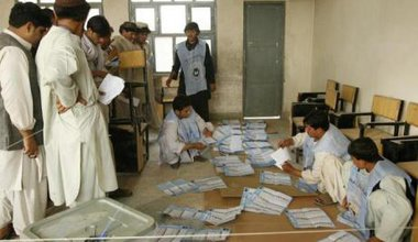 IEC officials in the southern province of Kandahar count the ballots of voters