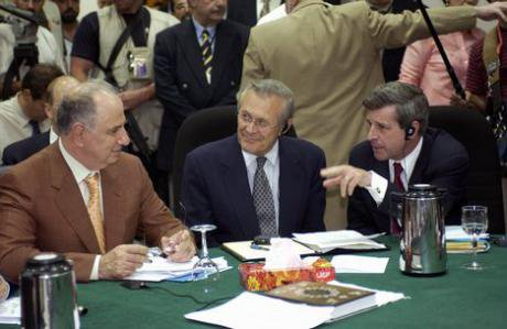 Ahmed Chalabi of Iraq with Donald Rumsfeld and Paul Bremer, 2008.