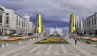Nursultan Nazarbayev's presidential palace, a shining modernist building surrounded by gold plated towers.