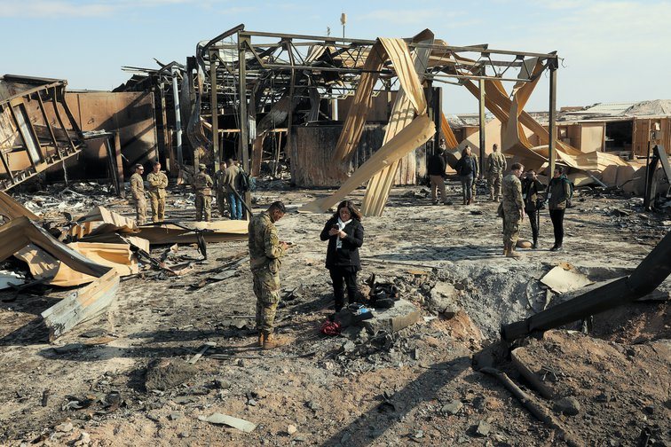 Damage to the Al Asad airbase after an Iranian missile strike.