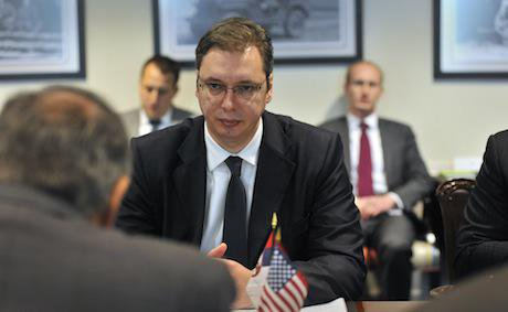 Aleksandar Vucic listens. Ash Carter:Flickr. Some rights reserved.jpg