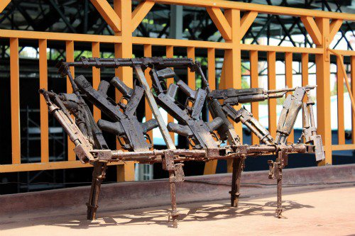 """At last, putting weapons to good use"" -  a work by  Cristóvão Canhavato (Kester) taken at the French Cultural Centre in Maputo, Mozambique. Photograph - Roger Tatoud"