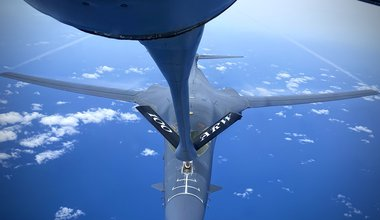 B-1B Lancer receives fuel from a KC-135 for Bomber Task Force, 5 May 2020