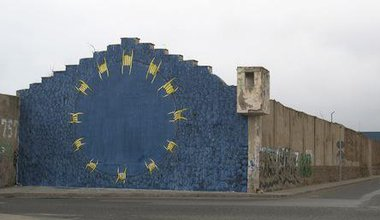 Graffiti by the artist BLU in Morocco, close to the border with Melilla.
