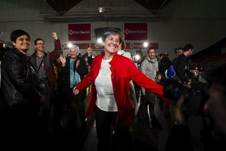 Laura Mintegi, leader of EH Bildu, the Basque separatist party that won big in this Sunday's regional parliamentary elections. Demotix/Manu Lozano. All rights reserved.