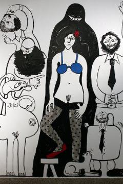 Cartoon-like image of a woman wearing only a ble bra, red shoes and stockings. Surrounded by puzzled and angry figures.