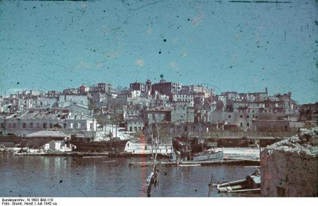 Sevastopol devastated by German bombardment. Crimea suffered greatly from the war.