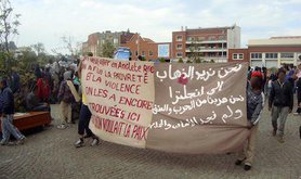 Migrant protest in Calais. Image courtesy of Calais Migrant Solidarity.