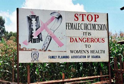 A campaign against female genital mutilation – a road sign near Kapchorwa, Uganda (Amnon Shavit).