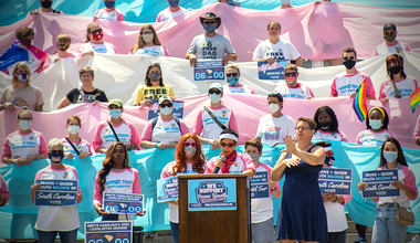 Campaigner Melissa Moore speaks during a Trans & Queer Field Day in South Carolina, May 2021  Mahkia Greene, SC United for Justice & Equality.png