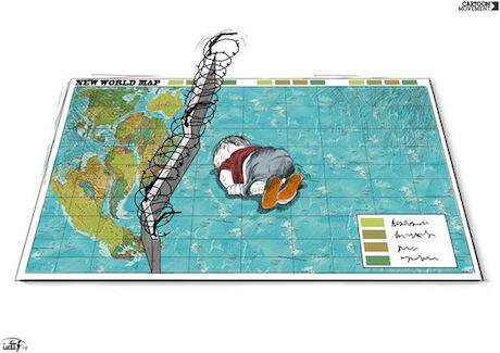 Cartoon depicting a drowned Syrian boy. Rafat Alkhateeb:cartoon movement. Some rights reserved.jpg
