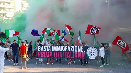 CasaPound demonstration. Stop immigration, italians first. source- Piceno News 24.jpg