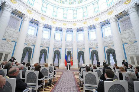Russian state ceremonies are normally lavish occasions and broadcast widely, such as this one on March 25, 2014. Kremlin.ru