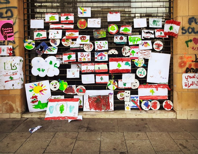 Children drawings in Riad El Solh (Beirut).jpg